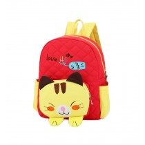 Cute Red Cat School Bag Toddler Backpack Kids Travel Canvas Backpacks Purse