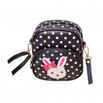 Cute Black Polka Dots Rabbit School Bag Travel Shoulder Bag Kids Backpack Purses