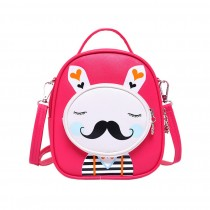 Kids Moustache Rabbit School Bag Cute Travel Shoulder Bag Backpack Purses Red