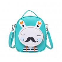 Kids Moustache Rabbit School Bag Cute Travel Shoulder Bag Backpack Purses Green
