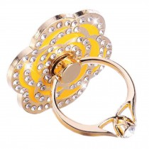 Beautiful Rhinestones Flower Ring Phone Holder/Stand For Most of Smartphones, Yellow