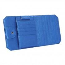 High Quality PU Leather Car Auto Visor Organizer CD/DVD Holder Case, Blue