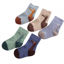 5 Pairs of Cozy Soft Kids Products Comfortable Wear Unisex  Durable Cotton  Socks, 2-3 years??giraffe