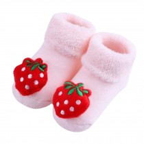 2 Pairs of Cozy Designer Unisex-Baby Cotton Socks Baby Gifts , Strawberry