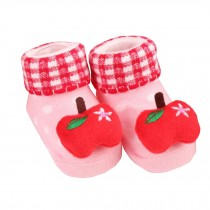 2 Pairs of Cozy  Baby Cotton Socks Baby Gifts Comfortable Socks Heartwarming Baby Gifts,  apple