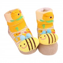 2 Pairs of Cozy  Baby Cotton Socks Baby Gifts Comfortable Socks Heartwarming Baby Gifts,bee