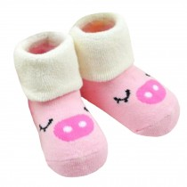2 Pairs of Cozy BabyCotton Socks Baby GiftsComfortable Socks Heartwarming Baby Gifts,0-1years??pig
