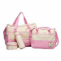 Functional Waterproof Diaper Tote Bags For Mummy With 5 Pieces Set Pink