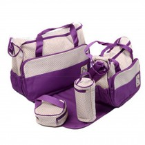 Functional Waterproof Diaper Tote Bags For Mummy With 5 Pieces Set Purple