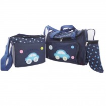 Functional Waterproof Diaper Tote Bags With Car Pattern 4 Pieces Set Deep Blue