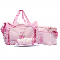 Waterproof Diaper Tote Bags With Ladybug Pattern 4 Pieces Set Pink