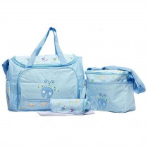 Waterproof Diaper Tote Bags With Ladybug Pattern 4 Pieces Set Sky Blue