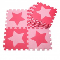 Colorful Waterproof Baby Foam Playmat Set-10pc, Red/Pink Five-pointed Star