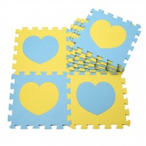 Colorful Waterproof Baby Foam Playmat Set-10pc, Blue/Yellow Hearts