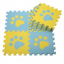Colorful Waterproof Baby Foam Playmat Set-10pc, Blue/Yellow Foot