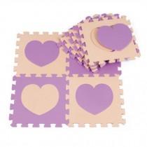 Colorful Waterproof Baby Foam Playmat Set-10pc, Beige/ Purple heart