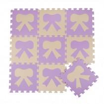 Colorful Waterproof Baby Foam Playmat Set-10pc, Beige/Purple Bow