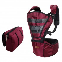 Double Shoulder Baby Carrier Hip Seat Carrier/Backpack With Waist Bag Wine