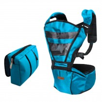 Double Shoulder Baby Carrier Hip Seat Carrier/Backpack With Waist Bag Blue