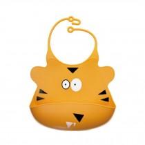 Kids Premium Silicone Soft Bibs Lovely Cartoon Design Soft & Waterproof   Tiger
