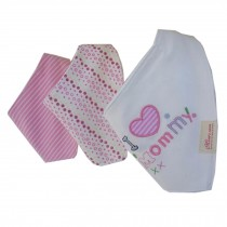 Lovely Feeding Bandana Bibs for Babies and Toddlers Set of 3( I love mommy )