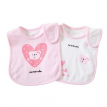 Set of 2 Lovely Baby Feeding Bandana Bibs Super Absorbent Cotton Bibs,Pink Bear