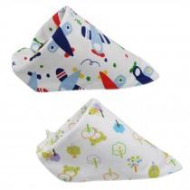 Set Of 2 Baby Cute Bandana Drool Bibs Unisex Cotton ( Animal & Plant )