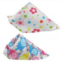 Set Of 2 Baby Cute Bandana Drool Bibs Unisex Cotton ( Floret & Lollipop )