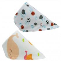 Set Of 2 Baby Cute Bandana Drool Bibs Unisex Cotton ( Ball & Whale )
