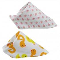 Set Of 2 Baby Cute Bandana Drool Bibs Unisex Cotton ( Strawberry & Bird )