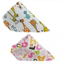 Set Of 2 Baby Cute Bandana Drool Bibs Unisex Cotton ( Giraffe & Letter )
