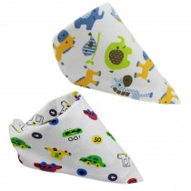 Set Of 2 Baby Cute Bandana Drool Bibs Unisex Cotton ( Elephant & Car )