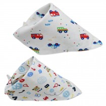 Set Of 2 Baby Cute Bandana Drool Bibs Unisex Cotton ( Bus & Pattern )