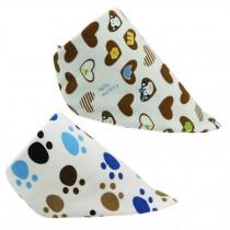 Set Of 2 Baby Cute Bandana Drool Bibs Unisex Cotton ( Heart & Footprints )