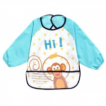 Lovely Blue Monkey Waterproof Baby Feeding Clothes Long-sleeved Baby Bibs