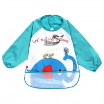 Lovely Elephant Waterproof Baby Feeding Clothes Long-sleeved Baby Bibs