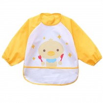 Lovely Waterproof Baby Feeding Clothes Long-sleeved Baby Bibs Yellow