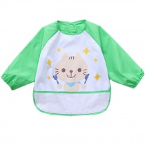 Lovely Waterproof Baby Feeding Clothes Long-sleeved Baby Bibs Green