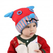 Cute Ox Horn Baby Infant Knit Crochet Winter Warm Cap Hat 6-36 Months Red