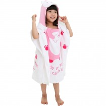 Childrens Cute And Fashion Style Hooded Bath Towel Bathrobes Pink Cat