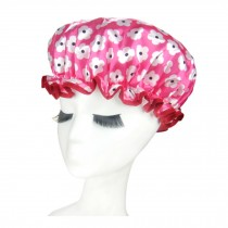 Quality Thickening Shower Cap Double Layers Waterproof Bath Cap Flowers, Pink
