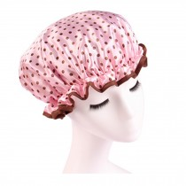 Quality Thickening Shower Cap Double Layers Waterproof Bath Cap Dot, Pink