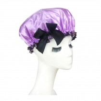 Quality Thickening Shower Cap Double Layers Waterproof Bath Cap Bowknot, Purple