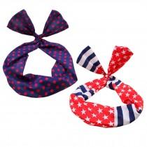 Girl's Pretty Cute Rabbit Ear Twist Bow DIY Wire Headband Hair Ribbon(2pc),A