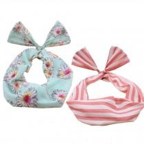 Girl's Pretty Cute Rabbit Ear Twist Bow DIY Wire Headband Hair Ribbon(2pc),D
