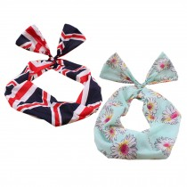 Girl's Pretty Cute Rabbit Ear Twist Bow DIY Wire Headband Hair Ribbon(2pc),H