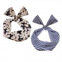 Girl's Pretty Cute Rabbit Ear Twist Bow DIY Wire Headband Hair Ribbon(2pc),J