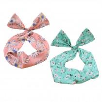 Girl's Pretty Cute Rabbit Ear Twist Bow DIY Wire Headband Hair Ribbon(2pc),K