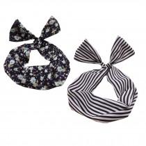 Girl's Pretty Cute Rabbit Ear Twist Bow DIY Wire Headband Hair Ribbon(2pc),L
