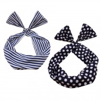 Girl's Pretty Cute Rabbit Ear Twist Bow DIY Wire Headband Hair Ribbon(2pc),N